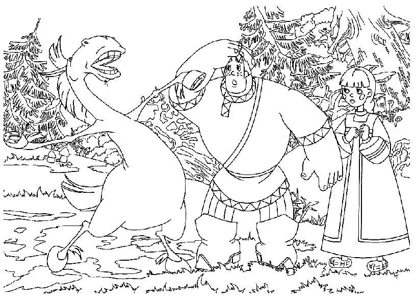 Раскраска Богатыри , мультфильм три богатыря, Алеша Попович и Аленушка, Конь Юрий. Скачать .  Распечатать
