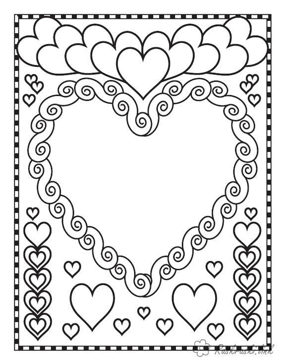 Раскраска  праздники открытка, валентинка, сердца. Скачать .  Распечатать
