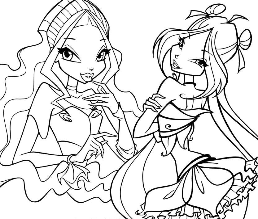 Раскраска Две феи из Винкс. Скачать Винкс.  Распечатать Винкс