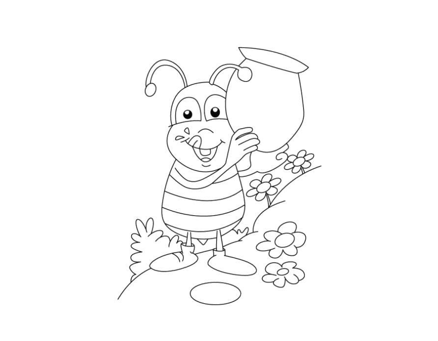 Раскраска Пчела собирает мед в горшок. Скачать Пчела.  Распечатать Пчела