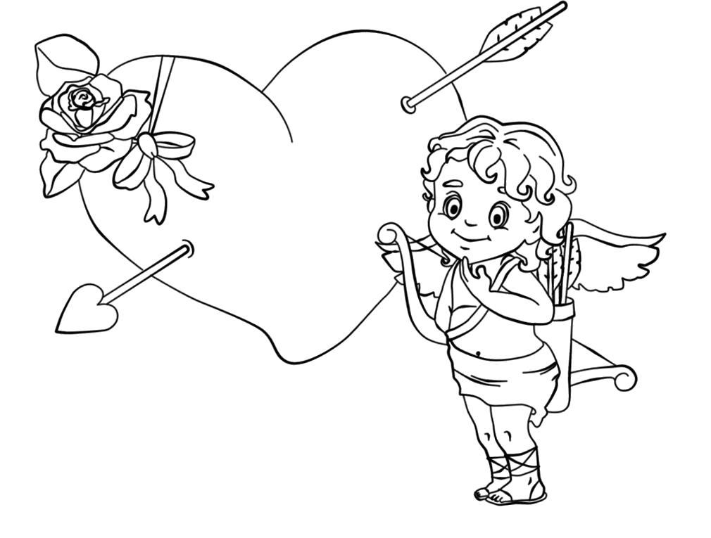 Раскраска Рисуем и раскрашиваем амуров и купидонов. Скачать амур.  Распечатать амур