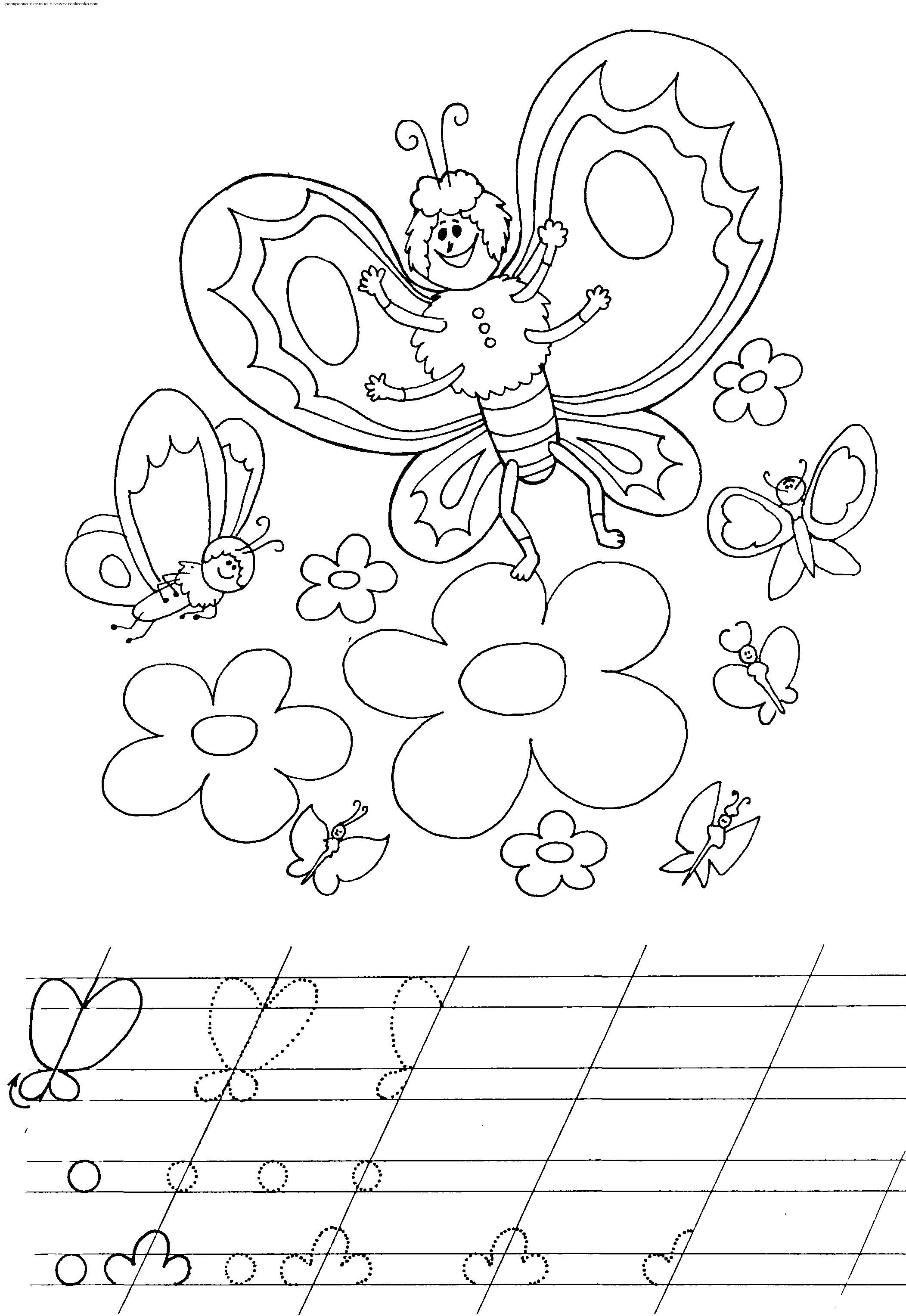 Раскраска пропись с бабочками. Скачать Бабочки.  Распечатать Бабочки