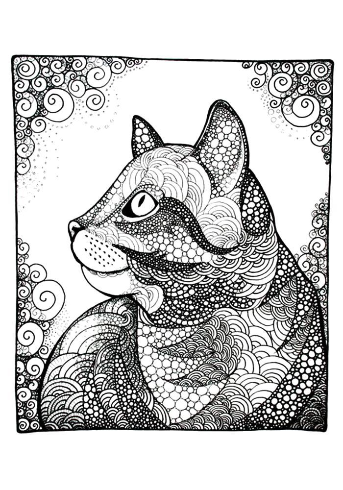 Раскраска  антистресс, фантастические кошки . Скачать кошка.  Распечатать Домашние животные