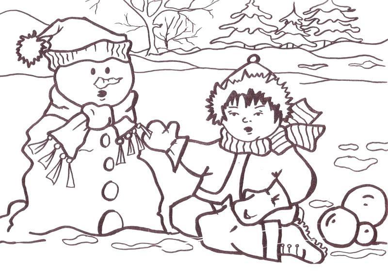 Раскраска Девочка лепит снеговика. Скачать .  Распечатать