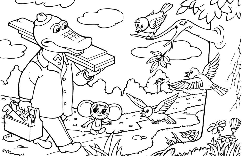 Раскраска  для детей Чебурашка и крокодил Гена. Скачать Чебурашка.  Распечатать Чебурашка
