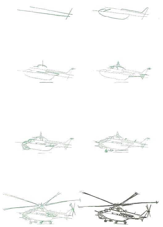 Раскраска Рисуем Вертолет МИ-24 (Россия). Скачать вертолет.  Распечатать вертолет