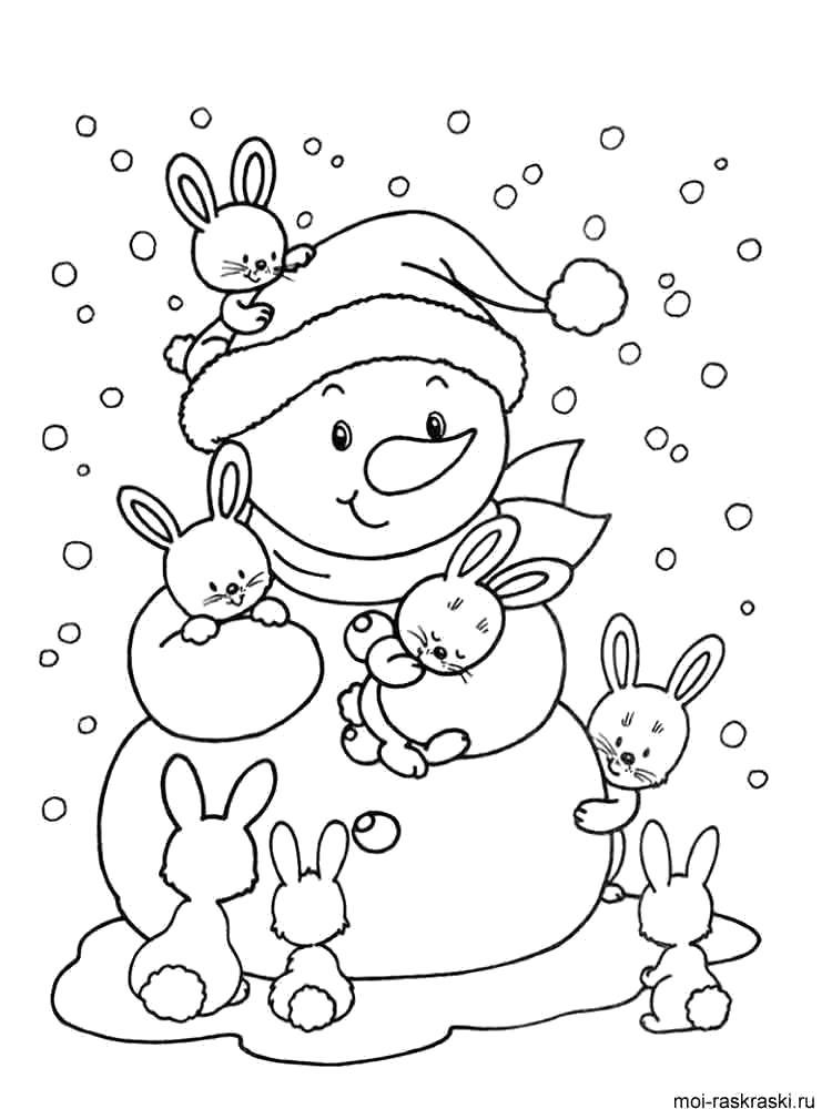Раскраска Снеговик и зайцы. Скачать снеговик.  Распечатать снеговик
