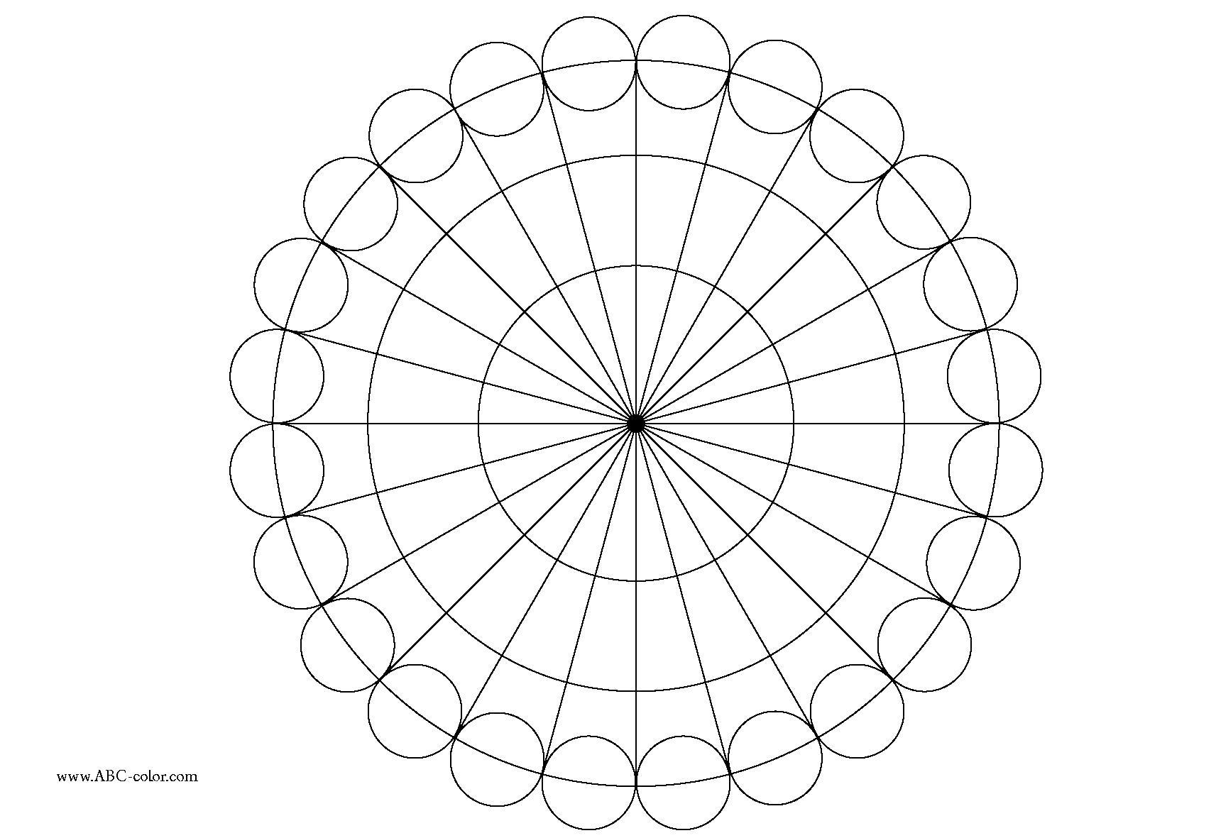 Раскраска круг из кругов . Скачать круг, сектор.  Распечатать геометрические фигуры