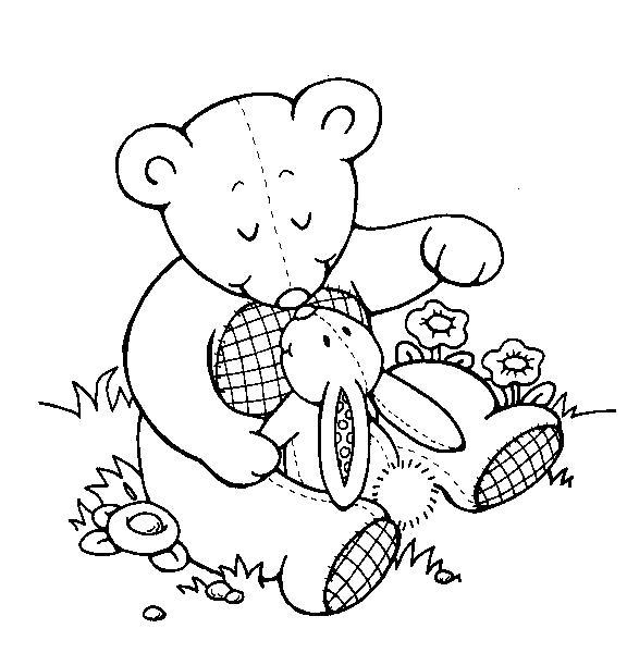 Раскраска Медвежонок и зайчик. Скачать Зайка.  Распечатать Зайка