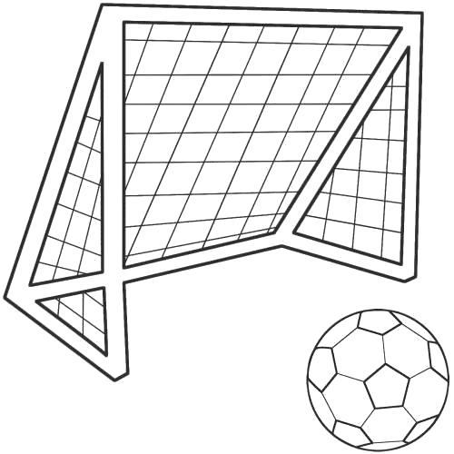 Раскраска  футбольные ворота и мяч. Скачать Футбол.  Распечатать Футбол