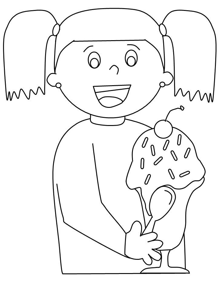 Раскраска  девочка с мороженым. Скачать Девочка.  Распечатать Девочка
