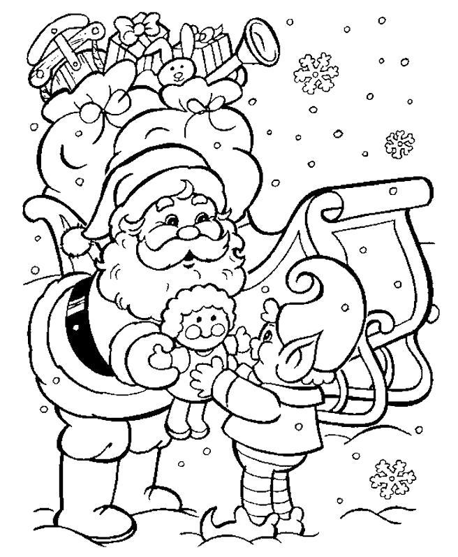 Раскраска Дед мороз дарит подарки. Скачать .  Распечатать