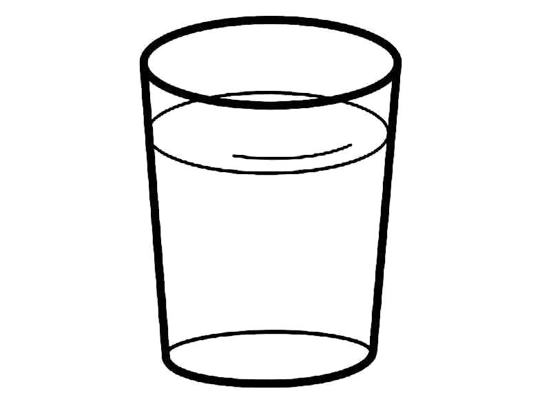 Раскраска Стакан воды. Скачать посуда.  Распечатать посуда