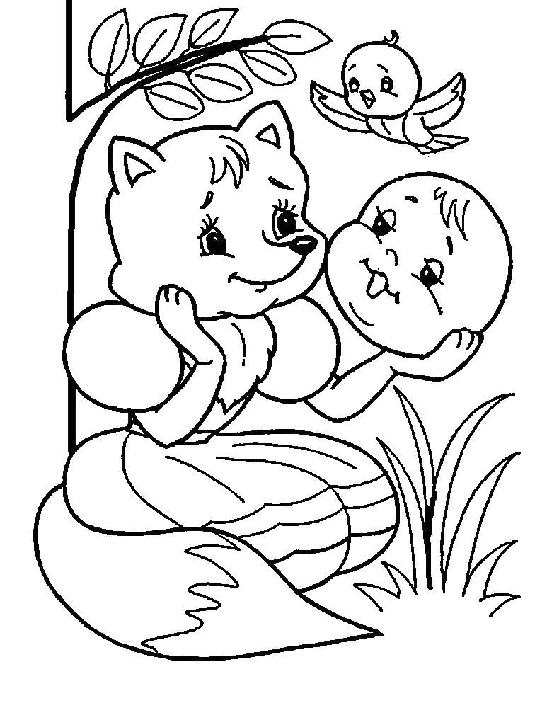 Раскраска Черно-белые картинки с героями сказок для раскрашивания. Лисичка-сестричка слушает песенку Колобка. Скачать Лисичка.  Распечатать Лисичка