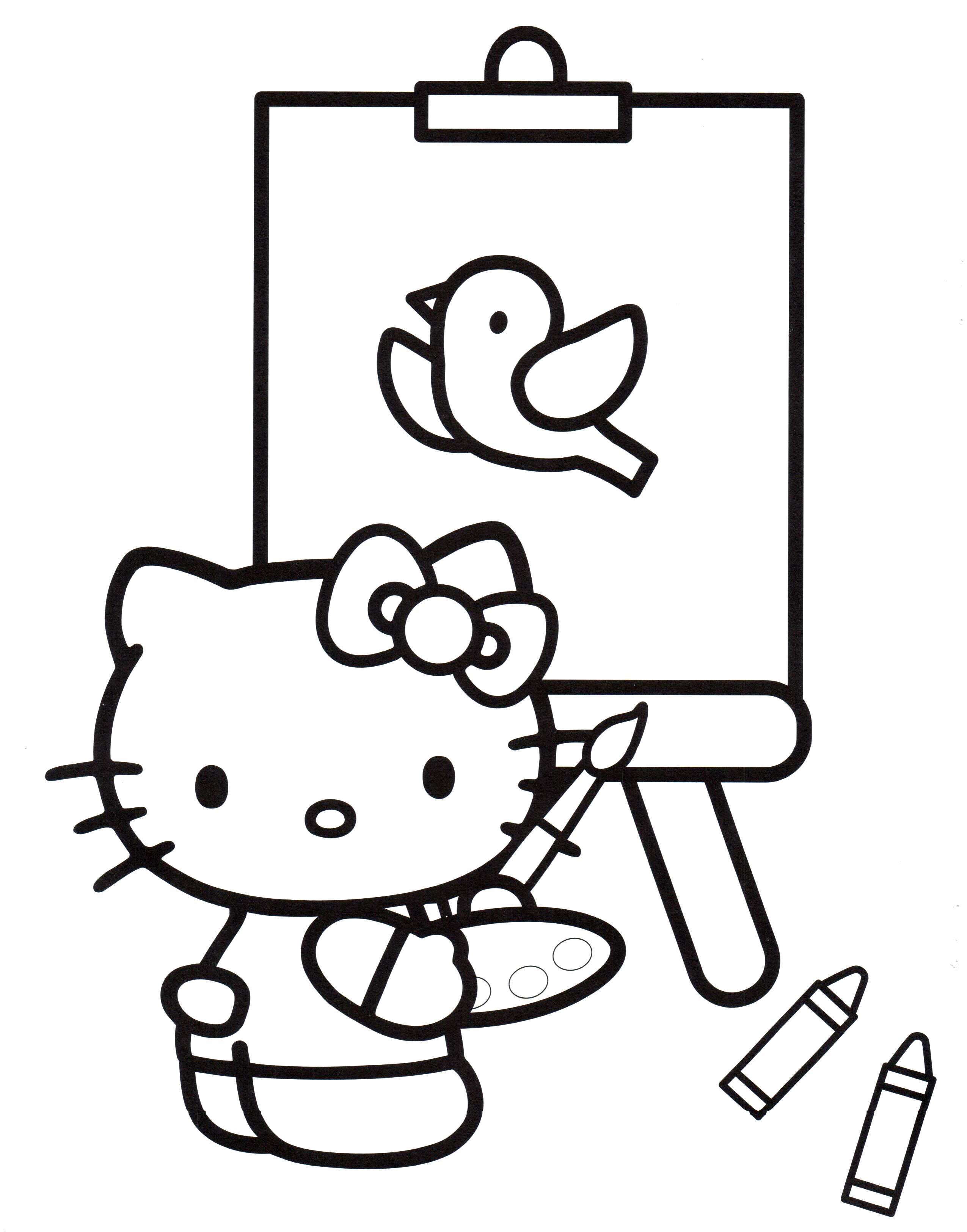 Раскраска Китти рисует. Скачать .  Распечатать