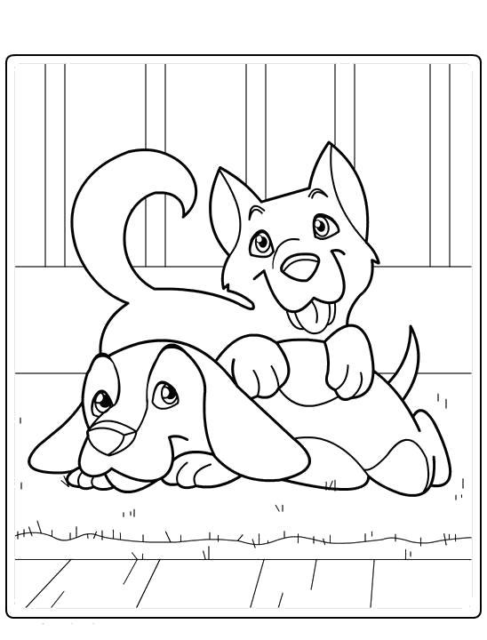 Раскраска Собаки на коврике. Скачать Собака.  Распечатать Домашние животные