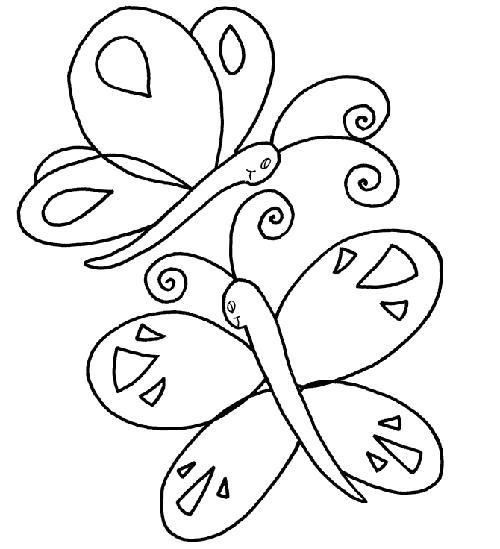 Раскраска две бабочки. Скачать Бабочки.  Распечатать Бабочки