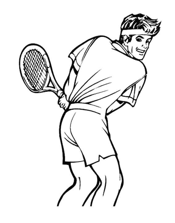 Раскраска  парень парень, теннис, спорт. Скачать Теннис.  Распечатать Теннис