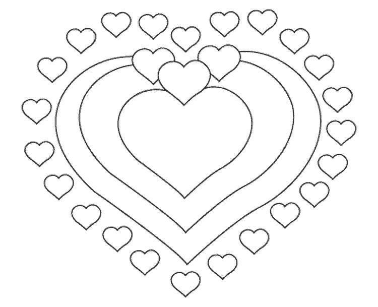 Раскраска  валентина сердца, открытка, валентинка . Скачать сердечки.  Распечатать сердечки
