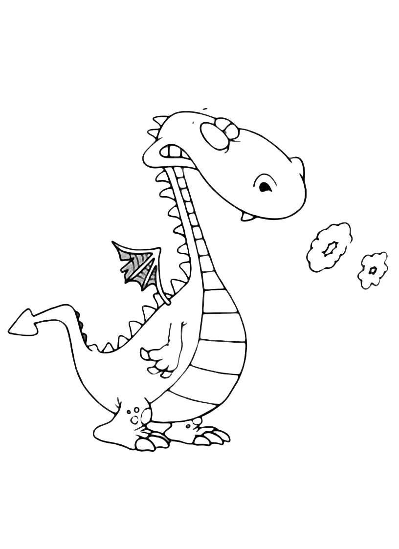 Раскраска Драконы . Скачать дракон.  Распечатать мифические существа
