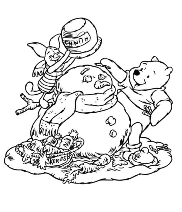 Раскраска  Пух и Пятачок лепят снеговика. Скачать .  Распечатать