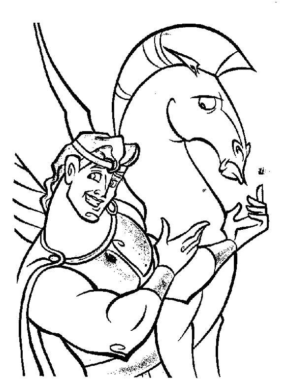 Раскраска Геркулес и пегас. Скачать Герои Диснея.  Распечатать Герои Диснея