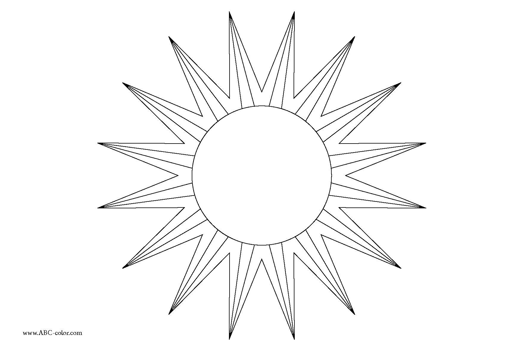 Раскраска солнышко . Скачать круг, треугольник, звезда.  Распечатать геометрические фигуры