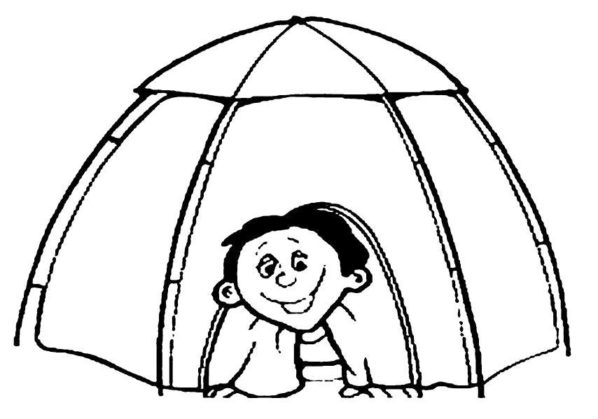 Раскраска Мальчик в палатке. Скачать .  Распечатать