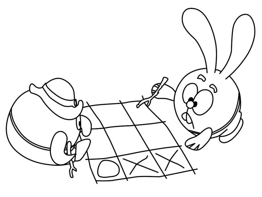 Раскраска  с Пином из Смешариков для девочек играют в крестики и нолики. Скачать Крош, Пин.  Распечатать Смешарики