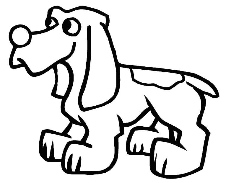 Раскраска Собачка. Скачать Собака.  Распечатать Домашние животные