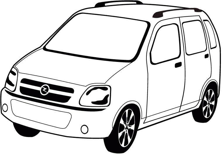 Раскраска Opel Agila- для  мальчиками. Скачать .  Распечатать