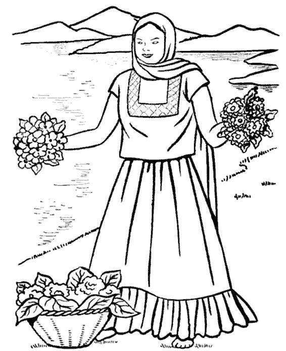 Раскраска женщина продает цветы. Скачать .  Распечатать
