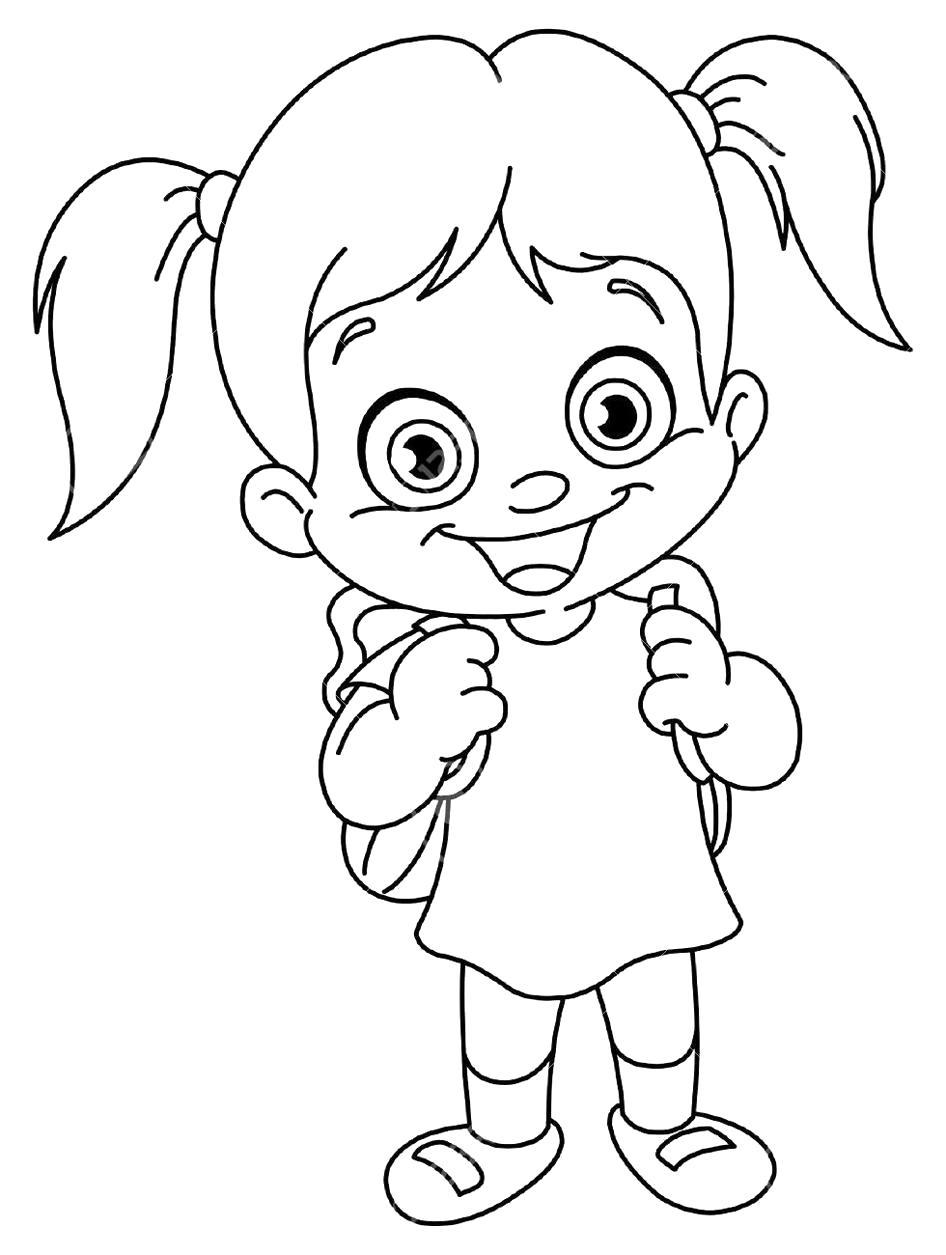 Раскраска Девочка со школьным рюкзаком. Скачать 1 сентября.  Распечатать 1 сентября