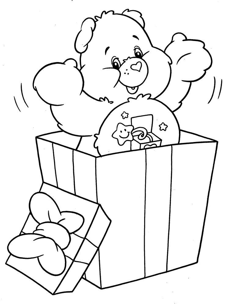 Раскраска Самый лучший подарок.  Заботливые мишки. Скачать подарок.  Распечатать подарок