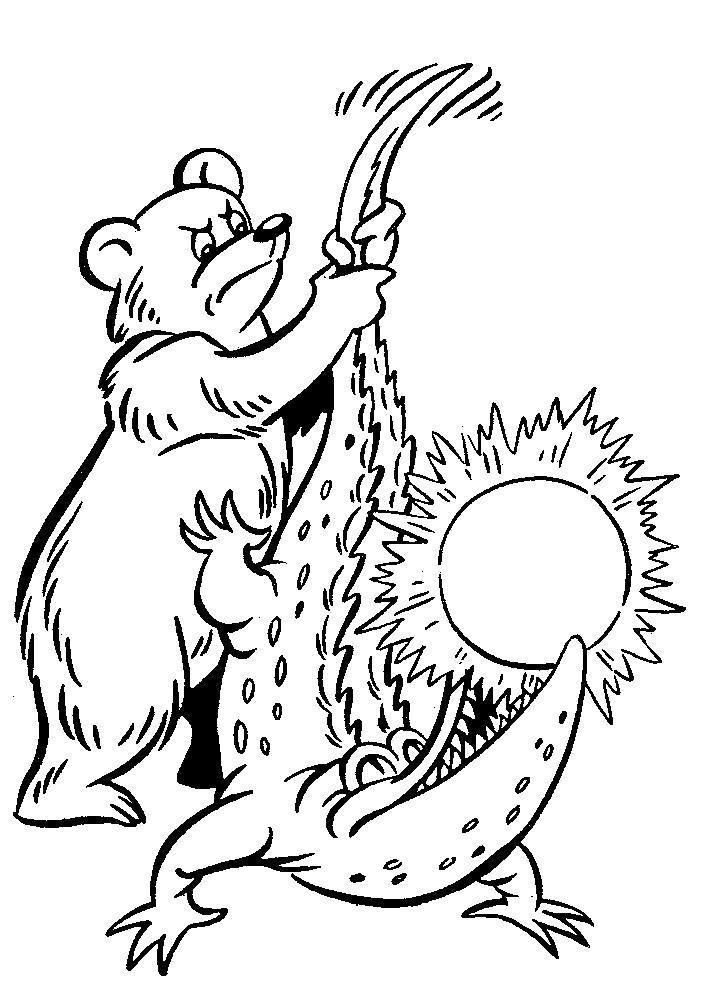 Раскраска Медведь и крокодил. Скачать .  Распечатать