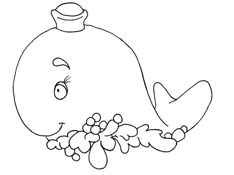 Раскраска Кит моряк. Скачать Кит.  Распечатать Морские животные