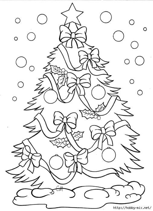 Раскраска Новогодняя елка, украшенная елка, наряженная елка, снег идет. Скачать новогодние.  Распечатать новогодние