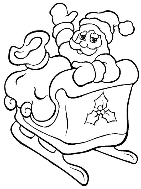 Раскраска дед мороз на санях. Скачать дед мороз едет.  Распечатать Дед мороз