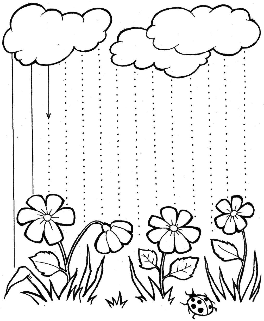 Раскраска Нарисуй дождик. Скачать развивающие.  Распечатать развивающие