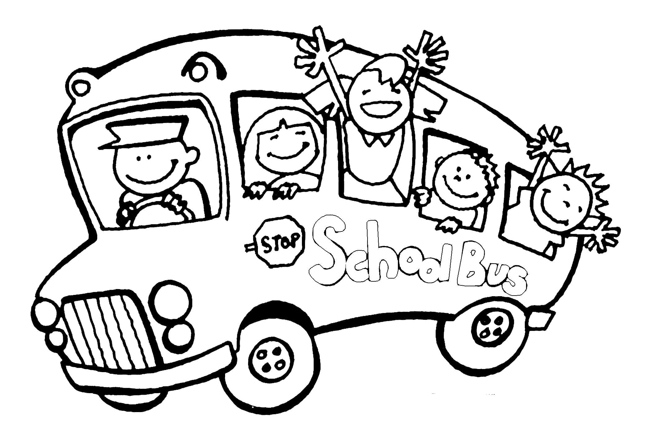 Раскраска школьный автобус. Скачать Школа.  Распечатать Школа