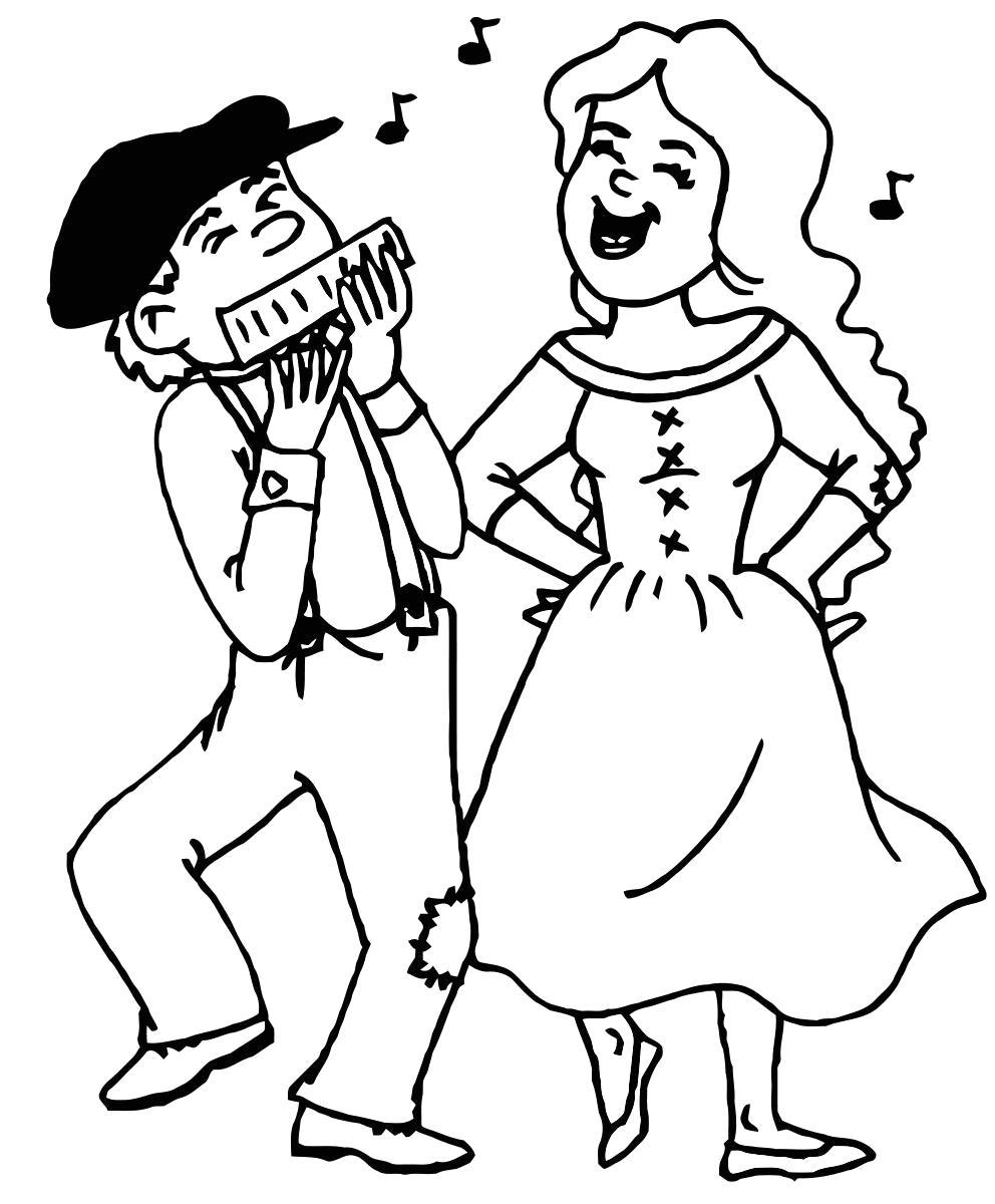 Раскраска Деревенские танцы. Скачать .  Распечатать