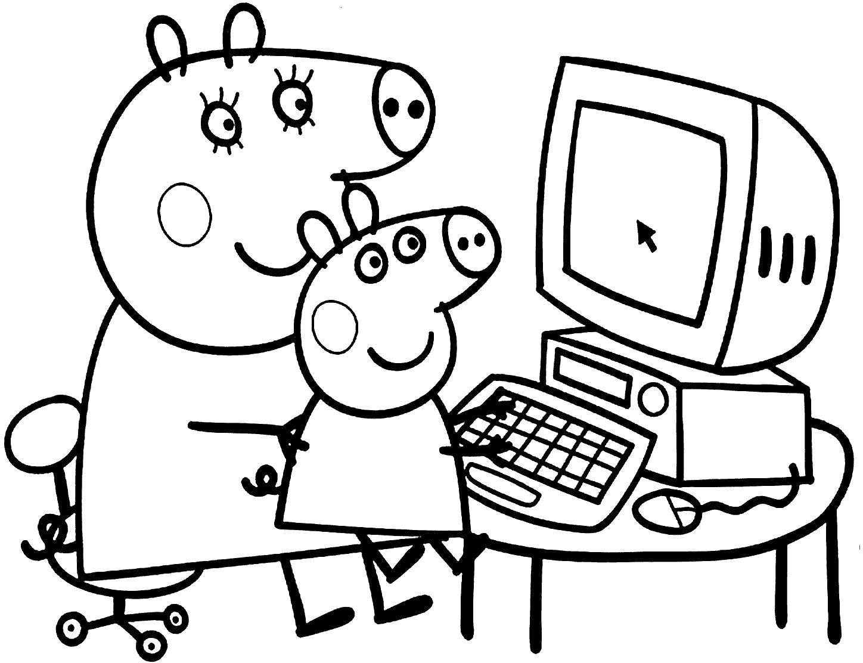 Раскраска Пеппа и Мама свинья. Скачать Свинья.  Распечатать Домашние животные