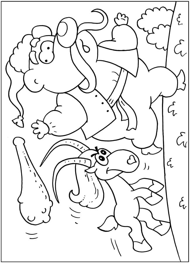 Раскраска Коза бежит за казаком. Скачать .  Распечатать