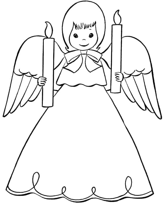 Раскраска ангел держит свечи. Скачать ангел.  Распечатать мифические существа