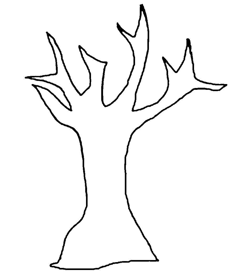 Раскраска  деревья ужасающее дерево вырезаем из бумаги. Скачать дерево.  Распечатать растения