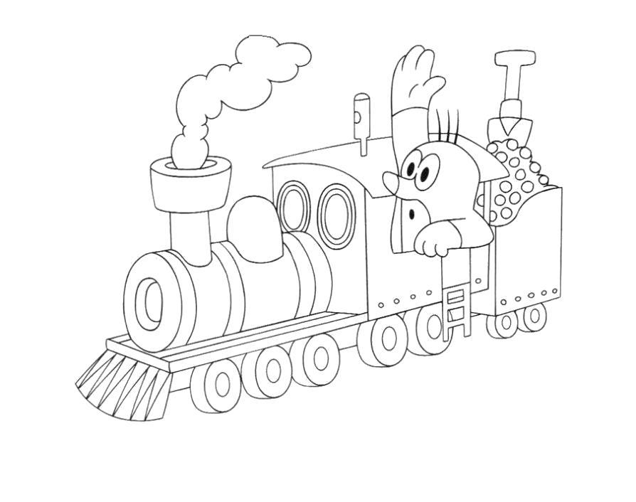 Раскраска Крот - машинист. Скачать поезд.  Распечатать поезд