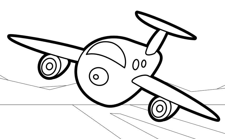Раскраска самолет спереди. Скачать самолет.  Распечатать самолет