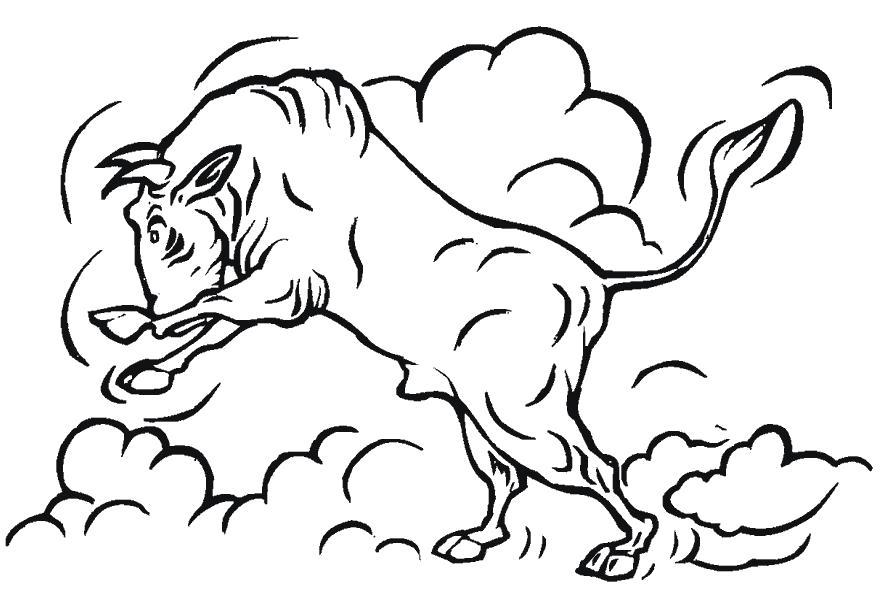 Раскраска Злой бык. Скачать Бык.  Распечатать Домашние животные