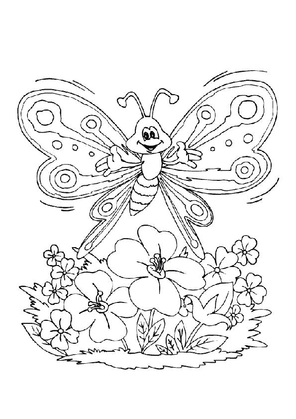 Раскраска радостная бабочка летит на цветок. Скачать Бабочки.  Распечатать Бабочки