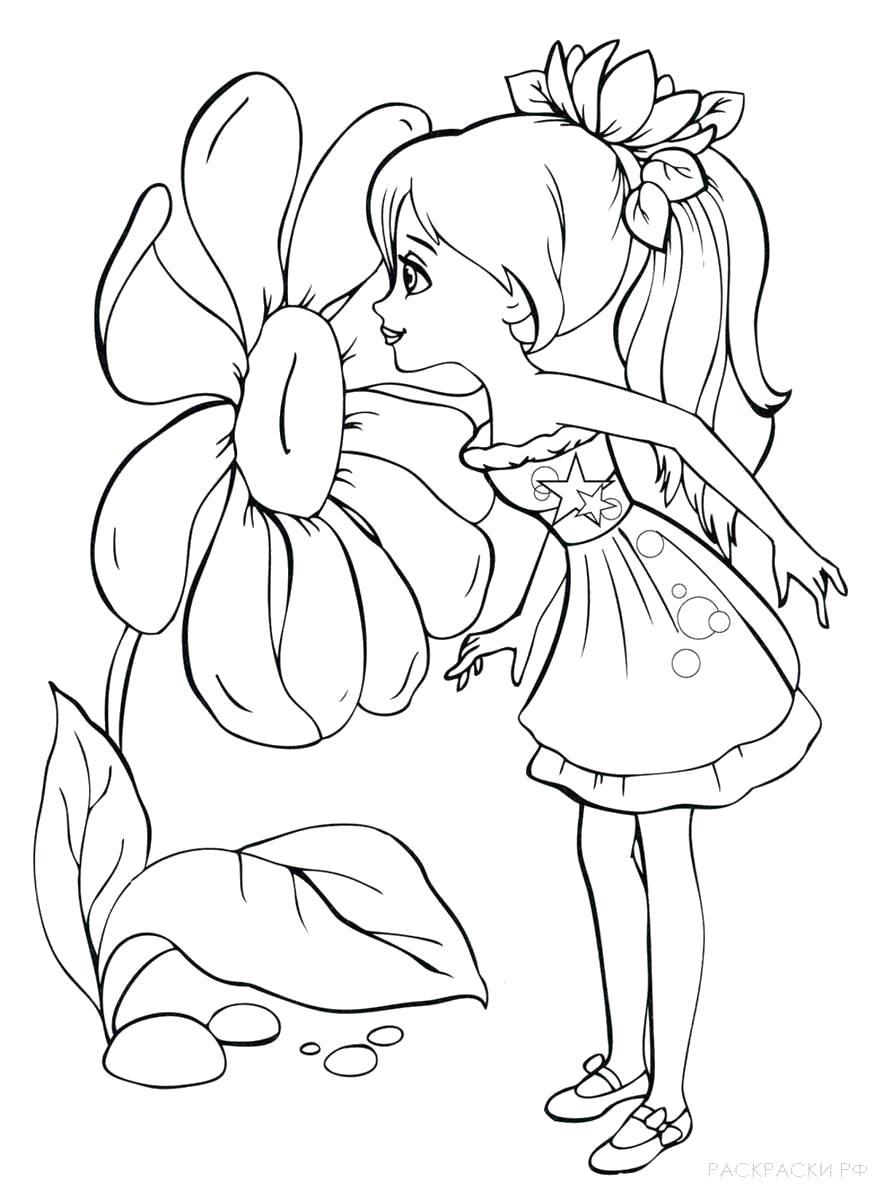Раскраска  девочка нюхает цветок. Скачать Девочка.  Распечатать Девочка